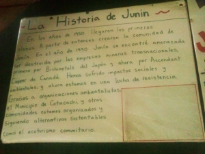 History of Junin, Ecuador.  Junin is the site of la lucha antiminera--resistance against copper mining in the Intag Valley