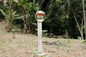 Oil pipe indicator in a Bagyeli village in Cameroon